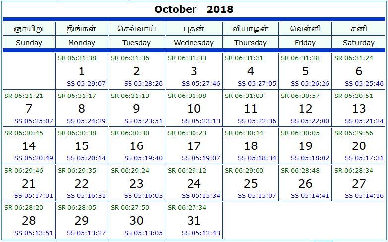 Thời gian mặt trời mọc và lặn trong ngày vào tháng 10